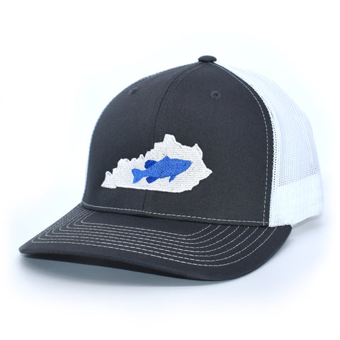 Image of Kentucky Bass Hat Blue on Charcoal/White - Bucks of America