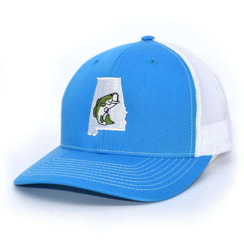 Alabama Jumping Bass Hat - Green on Cyan/White - Bucks of America