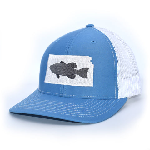 Image of Kansas Bass Hat- Grey on Blue/White