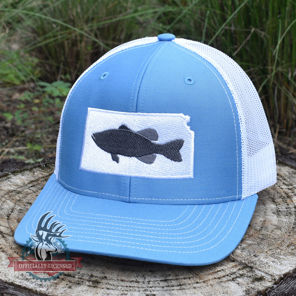 Kansas Bass Hat- Grey on Blue/White