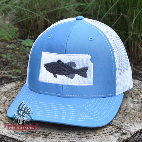 Kansas Bass Hat- Grey on Blue/White - Bucks of America