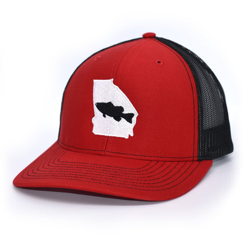 Georgia Bass Fishing Hat- Red/Black