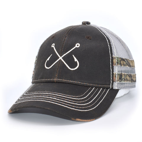 Image of Brown Camo Fishing Hooks Sport Frayed Hat - Bucks of America