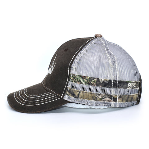 Image of Brown Camo Whitetail Sport Frayed Hat - Bucks of America