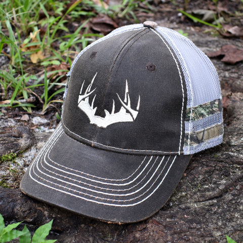 Brown Camo Whitetail Sport Frayed Hat