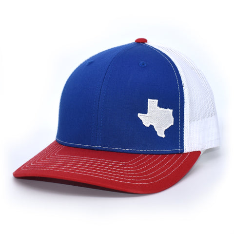 Texas State Outline Hat- Royal / White / Red - Bucks of America