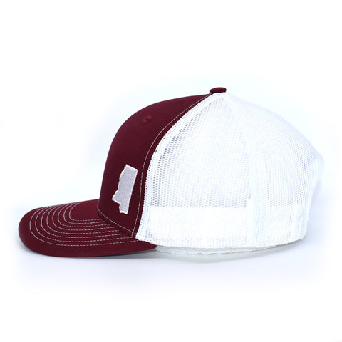 Image of Mississippi State Outline Hat - Crimson / White - Bucks of America