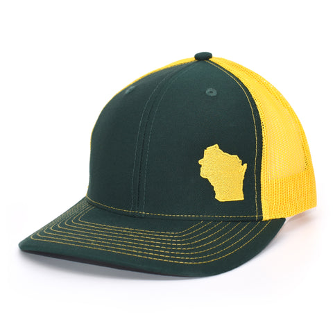 Wisconsin State Outline Hat- Green / Gold