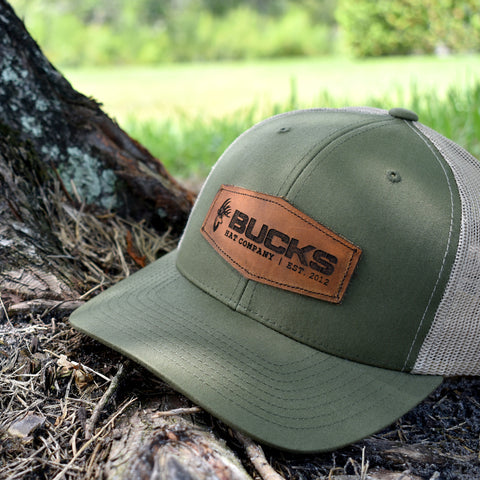 Image of Bucks Leather Patch Moss & Khaki Hat - Bucks of America