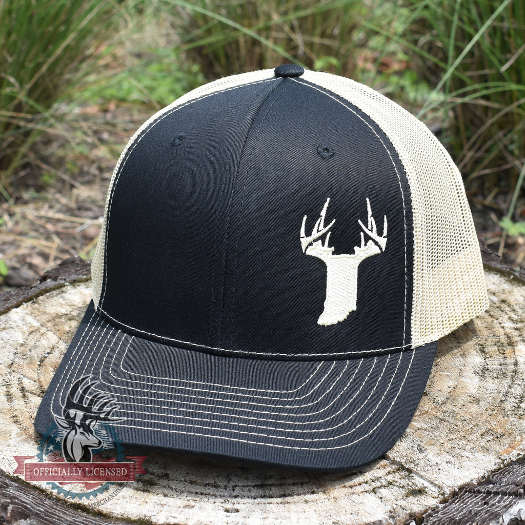 Indiana Gold State Antler Logo Hat - Black / Vegas Gold - Bucks of America