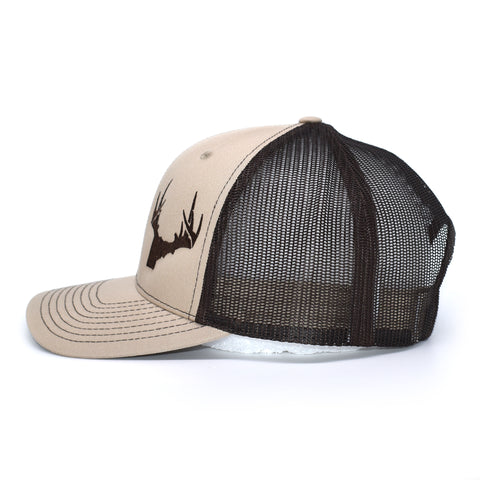 Image of Idaho Antler Logo Hat - Khaki / Black - Bucks of America