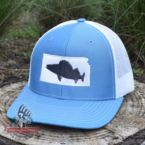 Kansas Walleye Hat- Grey on Blue/White - Bucks of America