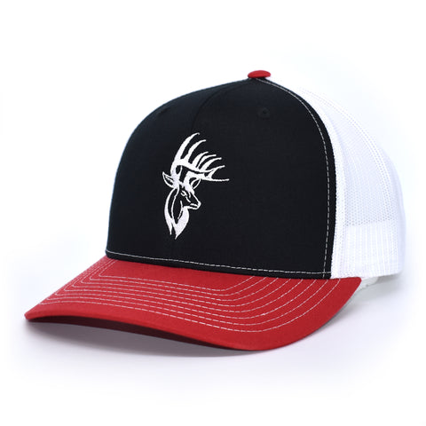 Image of Bucks of America Deer Logo Hat - Black / White / Red - Bucks of America