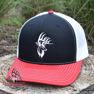 Bucks of America Deer Logo Hat - Black / White / Red