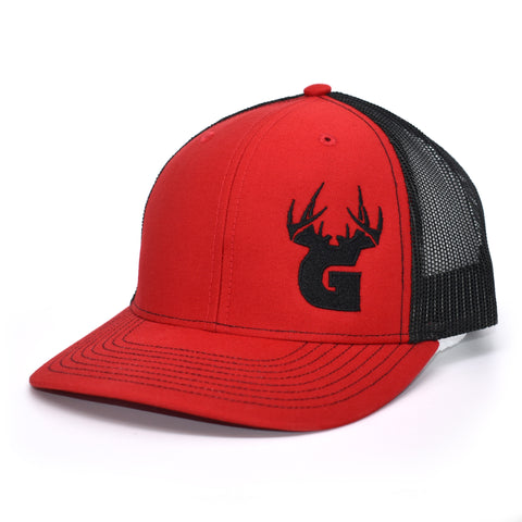 Bucks of Georgia Antler Logo Hat - Red / Black - Bucks of America