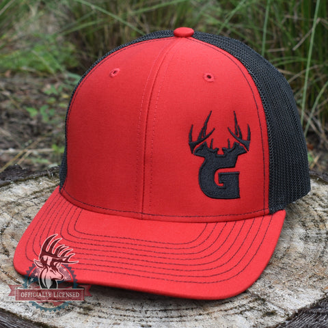 Image of Bucks of Georgia Antler Logo Hat - Red / Black - Bucks of America