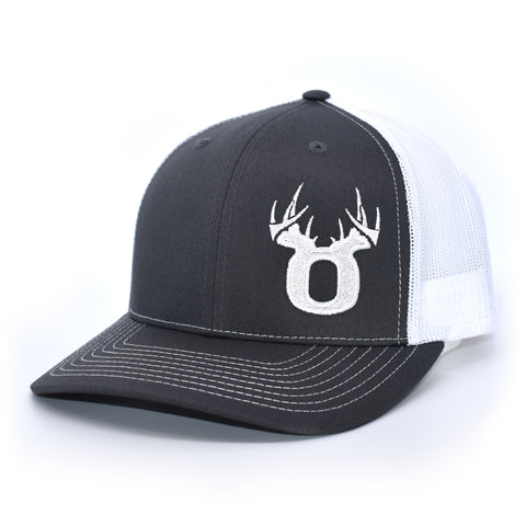 Image of Bucks of Oregon Antler Logo Hat - Charcoal / White - Bucks of America