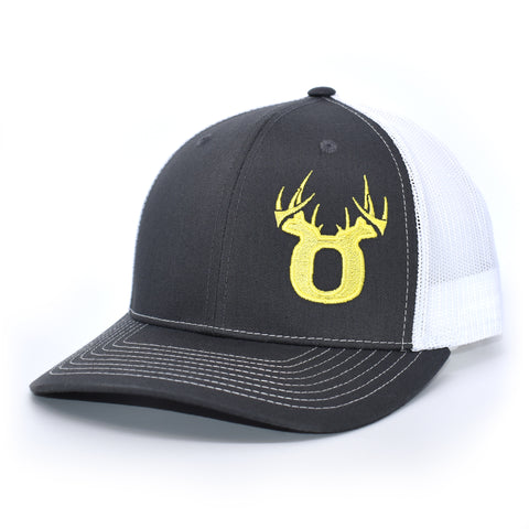 Bucks of Oregon Antler Yellow Logo Hat - Charcoal / White - Bucks of America