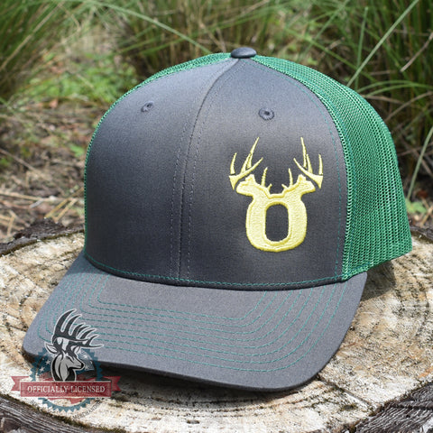 Bucks of Oregon Antler Yellow Logo Hat - Charcoal / Kelly - Bucks of America