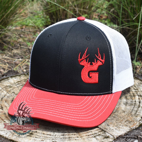 Bucks of Georgia Antler Logo Hat - Black / White / Red - Bucks of America