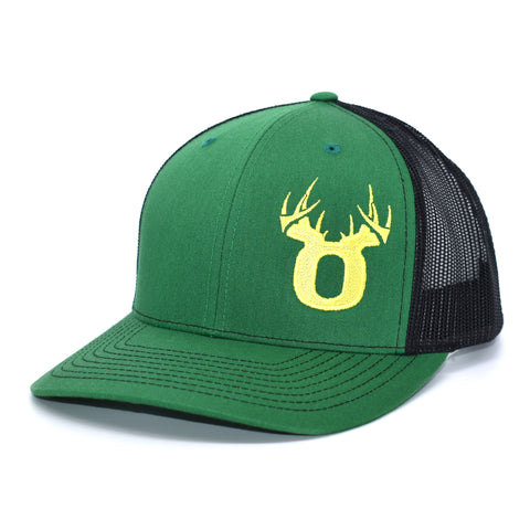 Bucks of Oregon Antler Yellow Logo Hat - Kelly Green / Black - Bucks of America