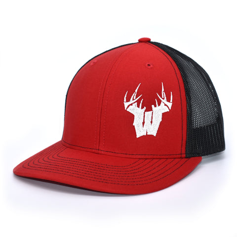 Wisconsin W Antlers Hat - Red / Black