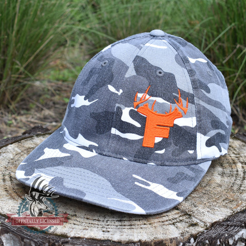 Image of Bucks of Florida F Orange Logo on Camo Fitted - Bucks of America