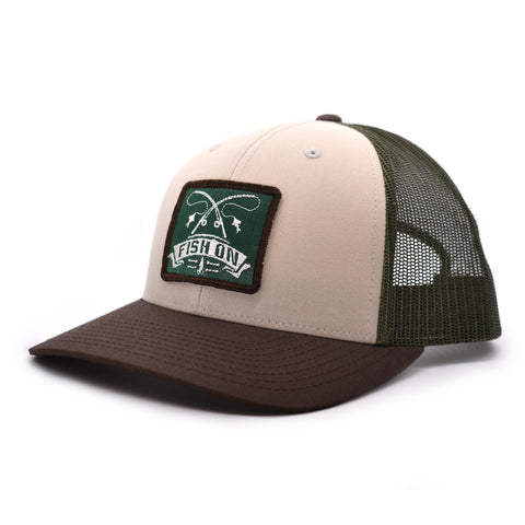Image of Fish On Patch Tan / Loden /  Brown Hat - Bucks of America