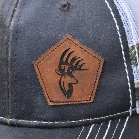 Image of Bucks Logo Leather Patch Brown & Light Grey Hat - Bucks of America