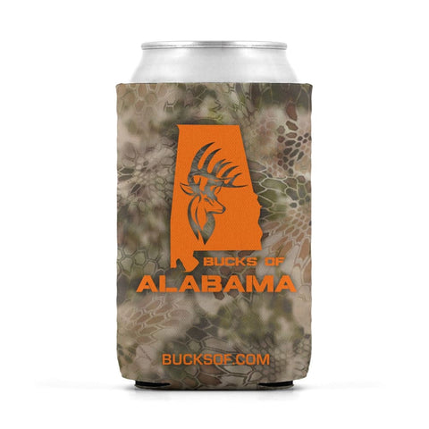 Image of Bucks of Alabama Can Koozie Orange / Camo - Bucks of America