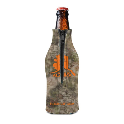 Image of Bucks of Alaska Bottle Koozie Orange / Camo - Bucks of America