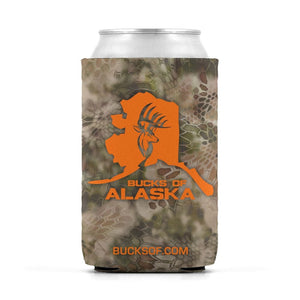 Bucks of Alaska Can Koozie Orange / Camo