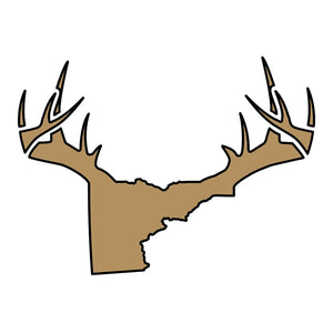 Bucks of Idaho Antler Decal - Gold / Black - Bucks of America