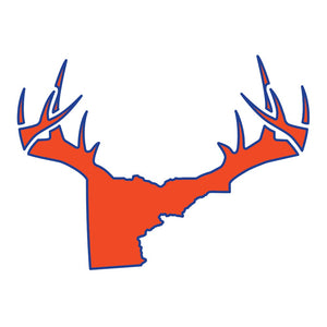 Bucks of Idaho Antler Decal - Orange / Blue - Bucks of America