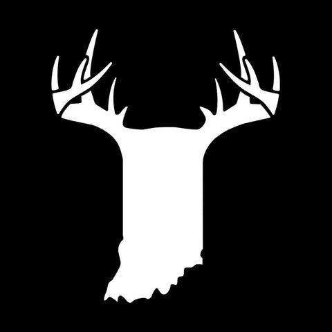 Bucks of Indiana State Antler Decal - White - Bucks of America