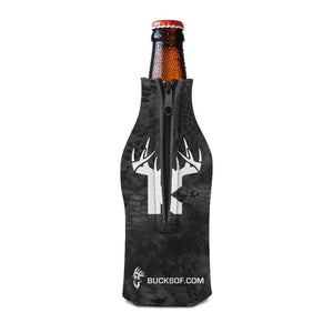 Bucks of Kansas Bottle Koozie White / Black