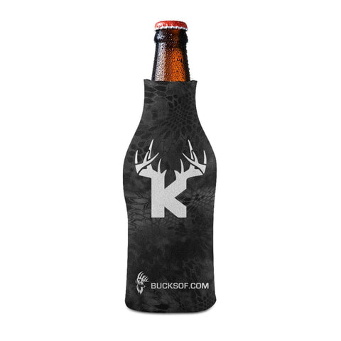 Bucks of Kansas Bottle Koozie White / Black - Bucks of America