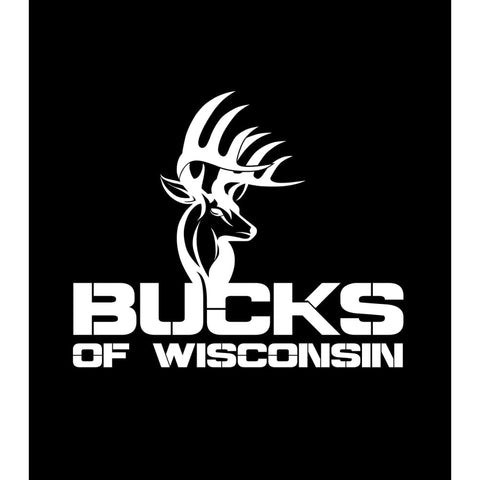 Bucks of Wisconsin Full Logo Decal - White - Bucks of America
