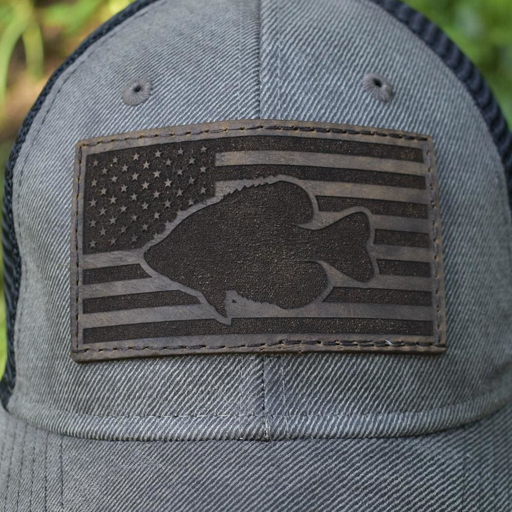Crappie Leather Patch Flag Hat - Grey / Black - Bucks of America