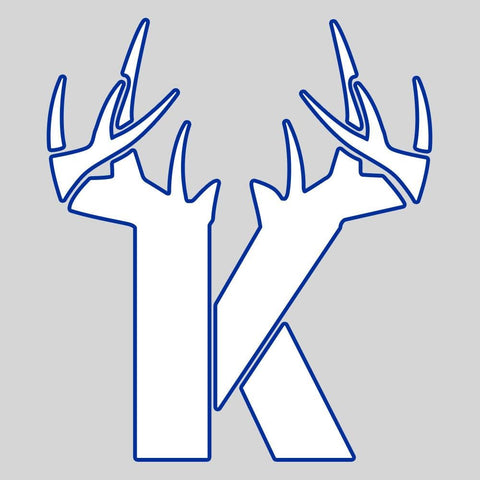 K Antler Decal - White/Blue - Bucks of America