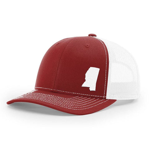 Mississippi State Outline Hat - Crimson / White - Hat