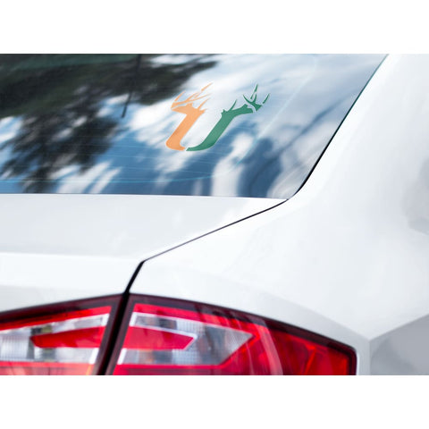 U Antler Decal - Orange/Green - Decal