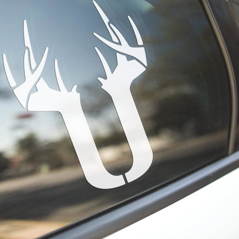Image of U Antler Decal - White - Decal