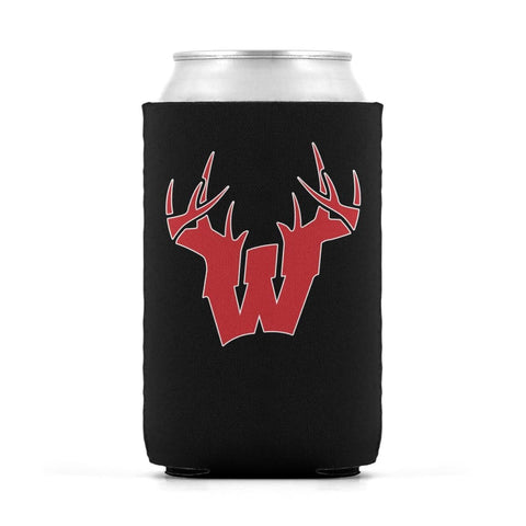 W Antler Red Can Koozie Can Sleeve - Drinkware