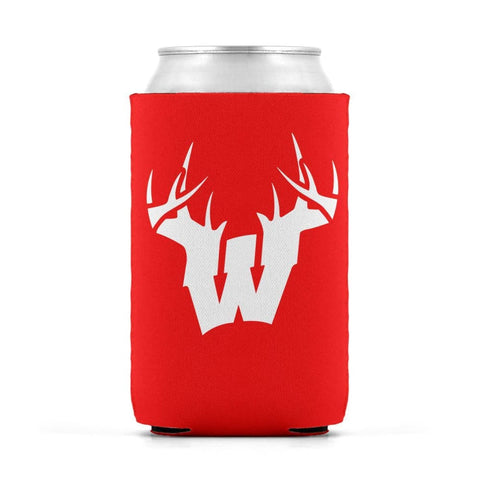 W Antler White Can Koozie Can Sleeve - Drinkware