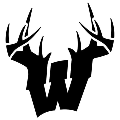Image of Wisconsin W Antlers Decal - Black - Bucks of America