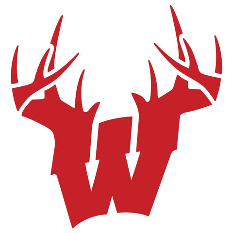 Image of Wisconsin W Antlers Decal - Red - Decal
