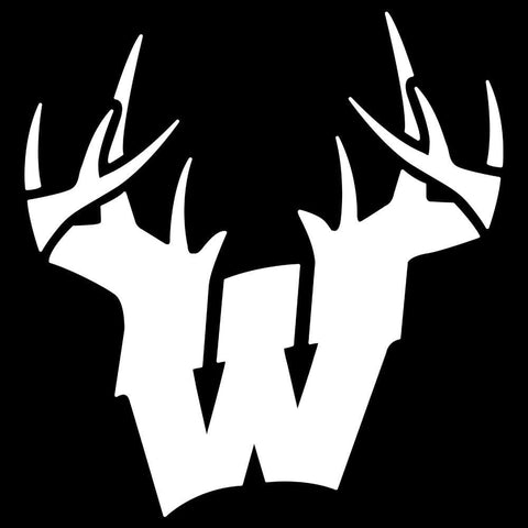 Image of Wisconsin W Antlers Decal - White - Decal