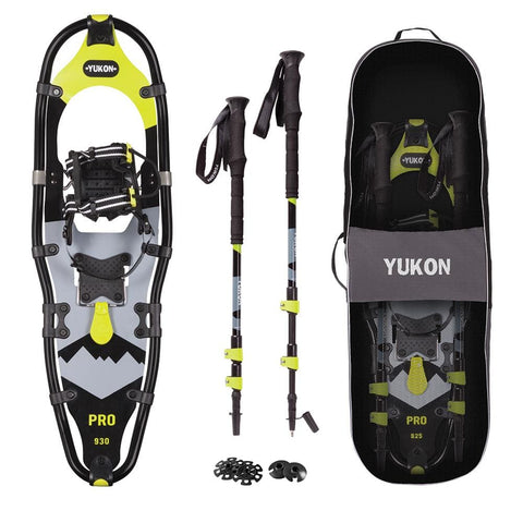"YUKON Pro Series Showshoe Kit 9"" x 30"" Black-Lime Green 250lbs Weight Capacity w-Snowshoes, Poles & Travel Bag - Bucks of America"