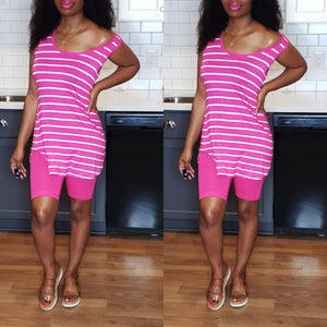 Stripes Bikers Set - Fuchsia